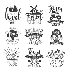 Farm products market vintage stamp collection vector