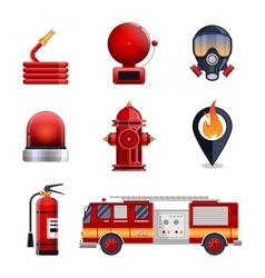 Firefighter elements set collection vector image vector image