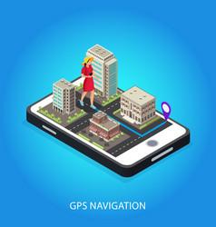 isometric gps navigation conceptual template vector image
