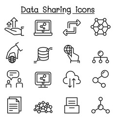 data sharing icon set in thin line style vector image