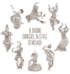 different indian dancers vector image