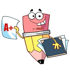Happy Pencil Guy Holding An A Plus Report Card vector image vector image