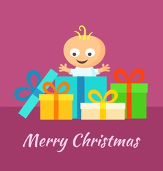 Merry Christmas and Smiling Baby with Gifts vector image