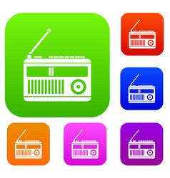 Retro radio set collection vector