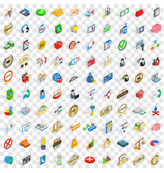 100 business icons set isometric 3d style vector image vector image