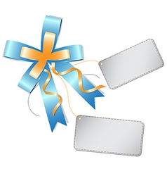 blue ribbon bow and label vector image vector image