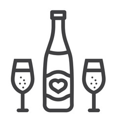 bottle of champagne with glasses line icon vector image