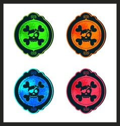 Halloween cameo skull in neon frames and borders vector image vector image
