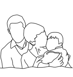happy family sketch hand drawn with vector image