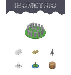 Isometric travel set of chile athens egypt and vector