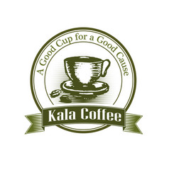 logo cup of coffee drawn by hand vintage style vector image vector image