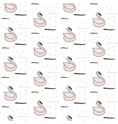 Pink swan seamless white pattern vector image vector image