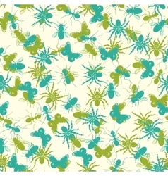 Seamless pattern with insects silhouettes vector image vector image
