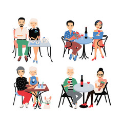 set of couples on romantic date young trendy vector image vector image