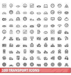 100 transport icons set outline style vector