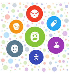 7 cute icons vector
