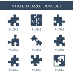 9 puzzle icons vector