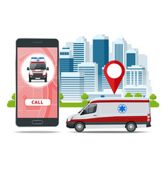 all ambulance car via mobile phone emergency vector image