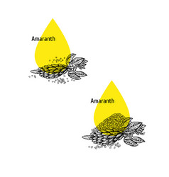 Amaranth oil icon set hand drawn sketch extract vector