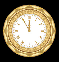 Ancient clock of the yellow metal with ornaments vector