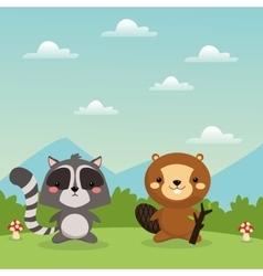 Beaver and raccoon cartoon icon Woodland animal vector