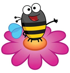 Bee Standing On A Flower-Color vector image