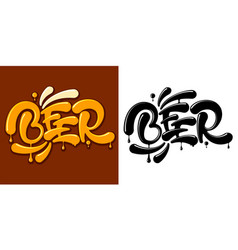 beer lettering color and black vector image