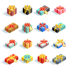 Big set different colored 3d gift boxes vector