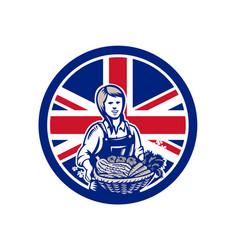 British female organic farmer union jack flag icon vector