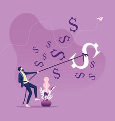 businessman catching biggest dollar symbol vector image