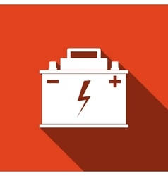 Car battery icon with long shadow vector image