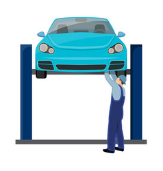 Car on the lift single icon in cartoon style for vector