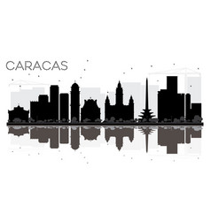 Caracas city skyline black and white silhouette vector