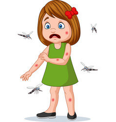 Cartoon little girl being bitten by mosquitos vector
