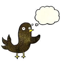 Cartoon waving bird with thought bubble vector