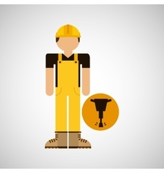 Character construction man with jackhammer vector