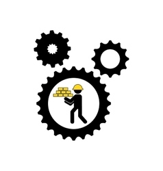 Character man construction gears with bricks icon vector