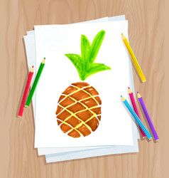 Child drawing of pine apple vector