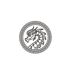 Chinese dragon ornament china coin medallion logo vector