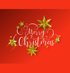 Christmas quote and gold stars over red background vector
