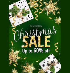 christmas sale holiday banner for web or flyer vector image