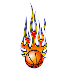 classic tribal flame with basketball vector image