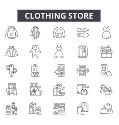 clothing store line icons signs set vector image