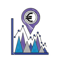 coin euro in pin pointer location with statistical vector image