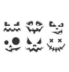 Collection halloween pumpkins black and white vector