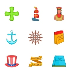 Columbus Day icons set cartoon style vector image