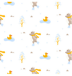 cute bear and duck ice-skating on pond seamless vector image