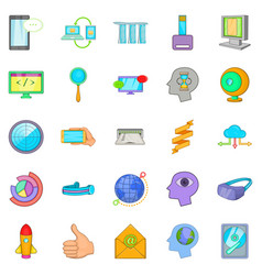 Data transfer icons set cartoon style vector
