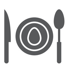 Dinner glyph icon food and dishware plate sign vector