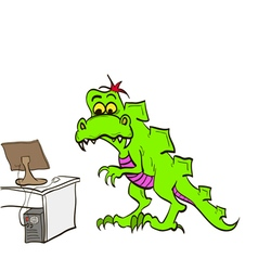 Dinosaur in the office with a computer and desk vector